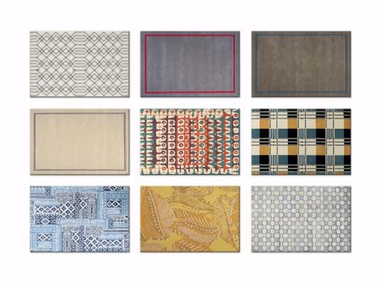 现代几何撞色花纹装饰地毯3D模型【ID:342528232】