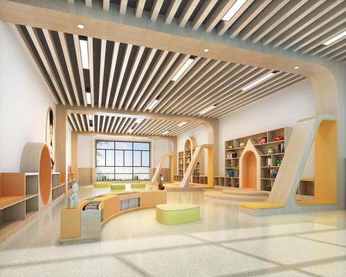 现代幼儿园亲自阅览室 造型书柜 方管格栅