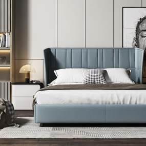 现代双人床床头柜组合3D模型【ID:843536705】