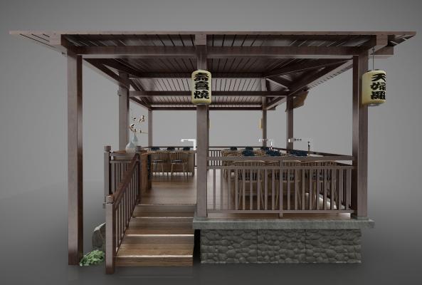 日式风格亭子3D模型【ID:146950982】