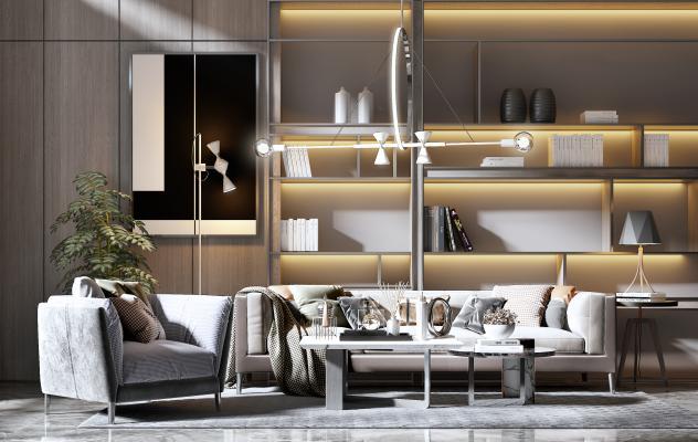 现代沙发组合3D模型【ID:651748761】