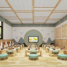 新中式幼儿园国学馆3D模型【ID:947355698】
