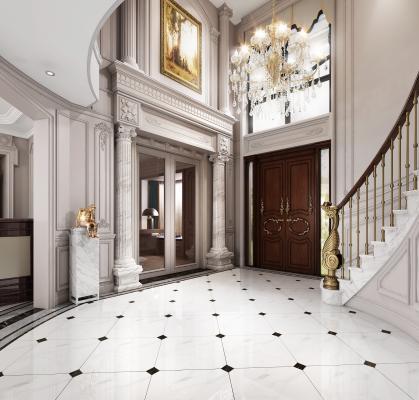 法式玄关 楼梯间