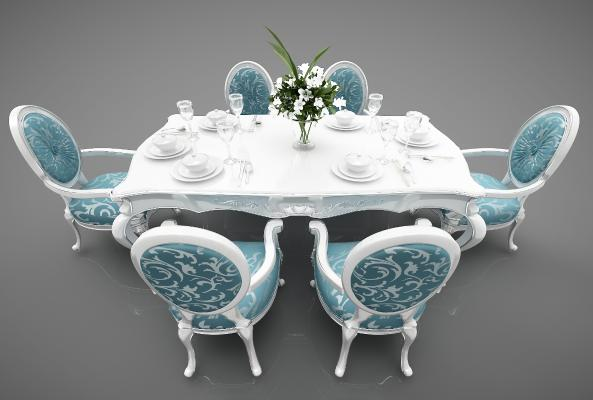 地中海风格餐桌3D模型【ID:847422899】