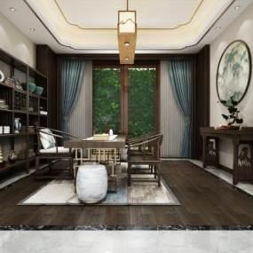 新中式茶室空间3D模型【ID:636084117】