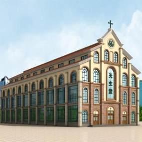 现代天主教堂3D模型【ID:232950189】