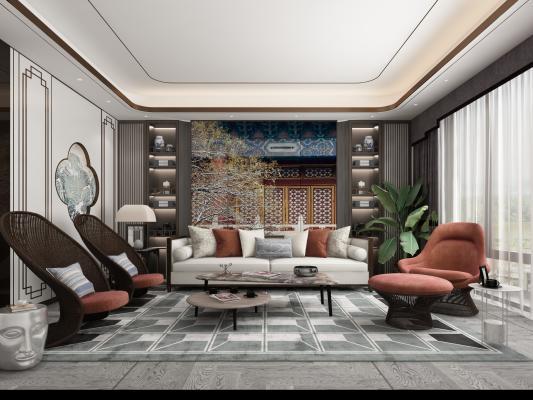 新中式沙发组合3D模型【ID:653894736】