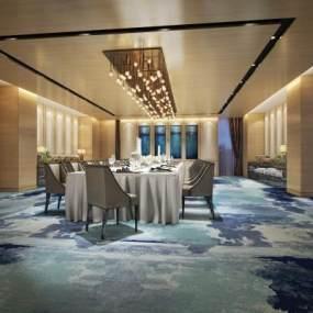 新中式餐厅3D模型【ID:632158208】