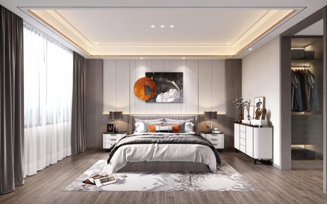 现代卧室3D模型【ID:552298224】