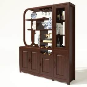 新中式酒柜3D模型【ID:653007294】