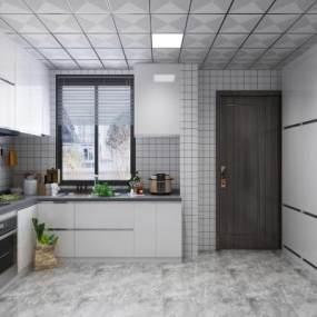 现代厨房3D模型【ID:542366353】