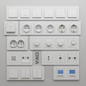 现代电源插座开关调光器3D模型【ID:332684365】