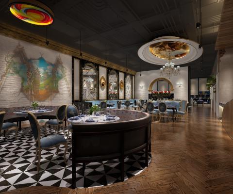 欧式餐厅3D模型【ID:631215231】