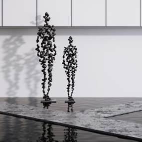 现代创意抽象人物雕塑3D模型【ID:345936196】