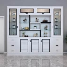 现代黑白灰酒柜实木门组合3D模型【ID:633741208】