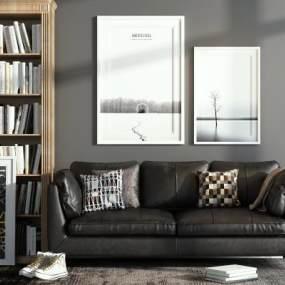 现代沙发装饰柜组合3D模型【ID:132924531】