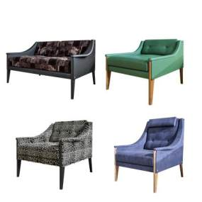現代休閑沙發椅組合3D模型【ID:650934462】