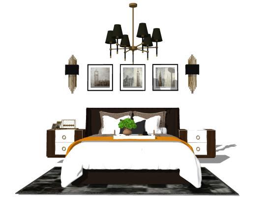 现代卧室床具组合SU模型【ID:545260283】