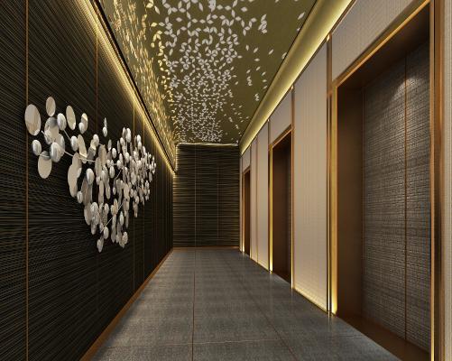 酒店电梯走廊3D模型【ID:741680693】