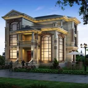 欧式别墅建筑景观3D模型【ID:130676380】