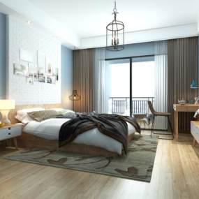 现代简约风格卧室3D模型【ID:537126203】