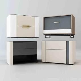 现代床头柜组合3D模型【ID:134489863】