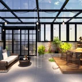 现代花园阳台3D模型【ID:534481636】