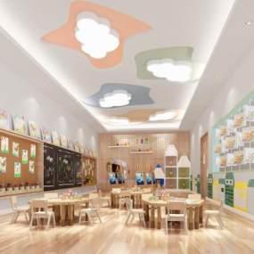 現代幼兒園圖書館3D模型【ID:943542813】