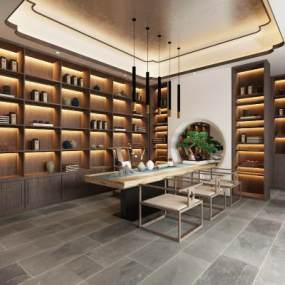 新中式茶室3D模型【ID:648900134】