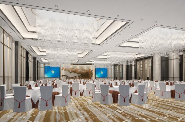 现代宴会厅3D模型【ID:630630289】