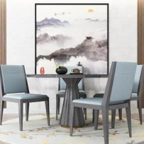 新中式圆形餐桌椅组合 3D模型【ID:841429836】