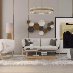 现代沙发茶几组合3D模型【ID:643555751】