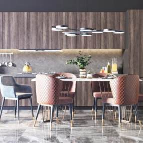 现代轻奢餐桌椅组合3D模型【ID:735779114】