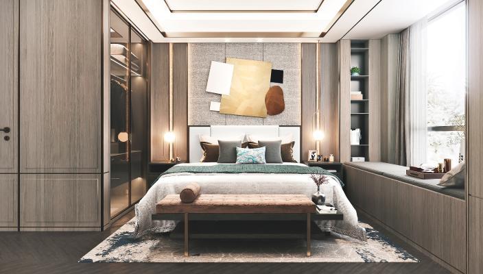 新中式卧室3D模型【ID:542346216】