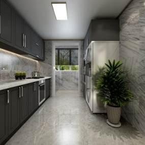 现代厨房 3D模型【ID:541399335】