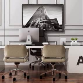 現代電腦辦公桌椅組合3D模型【ID:946295050】