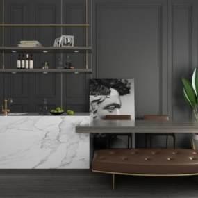 现代简约吧台吧椅酒架装饰画盆栽休闲桌椅组合 3D模型【ID:941858274】