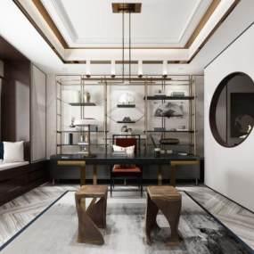 新中式茶室3D模型【ID:652867101】