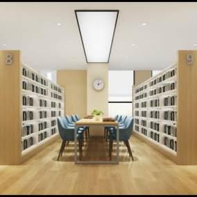 现代图书室3D模型【ID:932745804】
