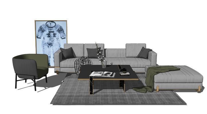 现代沙发茶几组合 装饰画 摆件 毯子