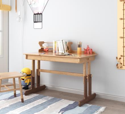 北歐實木兒童書桌3D模型【ID:944720350】
