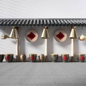 新中式走廊围墙农具挂件陶罐乡村田园3D模型【ID:230584544】