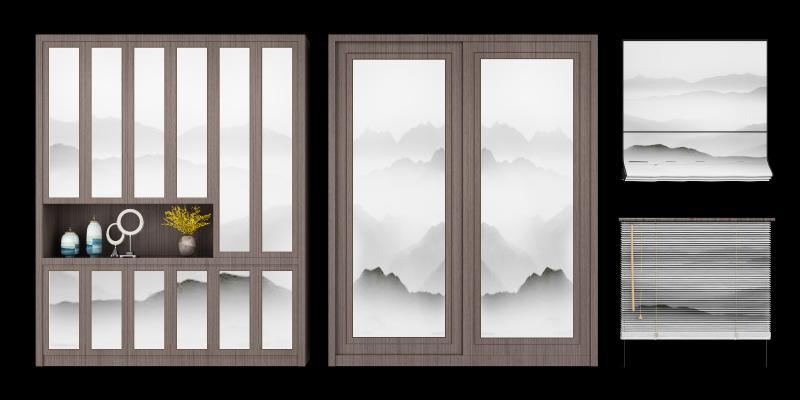 新中式衣柜装饰窗帘组合3D模型【ID:141905440】