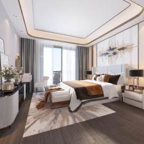 现代轻奢卧室3D模型【ID:553422212】