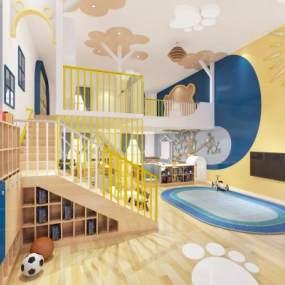 现代幼儿园课室3D模型【ID:943542612】