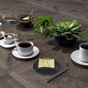 现代杯子咖啡3D模型【ID:232000524】