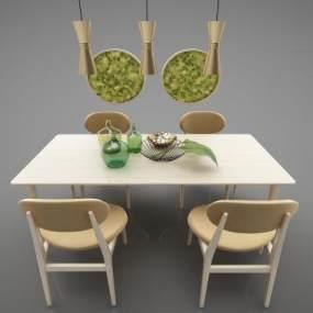 現代風格餐桌3D模型【ID:850535866】