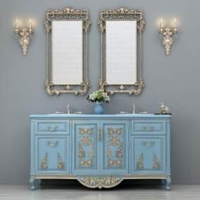 欧式简约洗手台洗手柜卫浴镜壁灯摆件组合3D模型【ID:635512431】