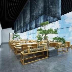 新中式餐厅餐馆3D模型【ID:635940208】