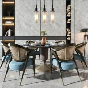 新中式餐桌椅组合365彩票【ID:835680818】
